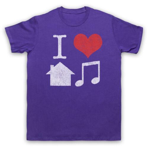 I LOVE HOUSE MUSIC SLOGAN RETRO COOL CLUBBING DJ MENS WOMENS KIDS T-SHIRT