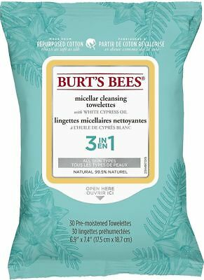 Burt's Bees MICELLAR Facial Cleansing White Cypress Towelettes: 30 Cloths/Wipes
