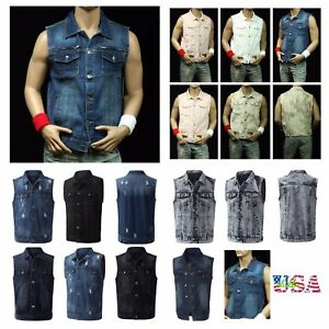 98217b3d626 Men s Sleeveless Tank Vest Fashion Vest Denim Jacket Jean Hipster ...