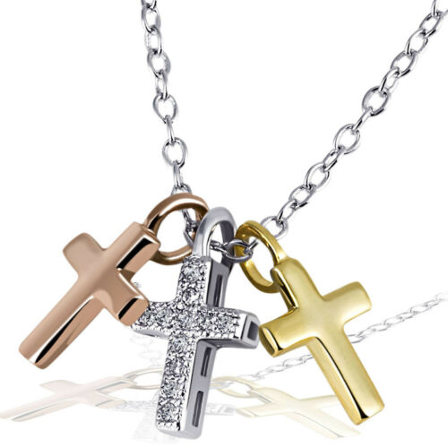 Goldmaid Kette Kreuz 925 Sterlingsilber teilweise vergoldet 11 weiße Zirkonia