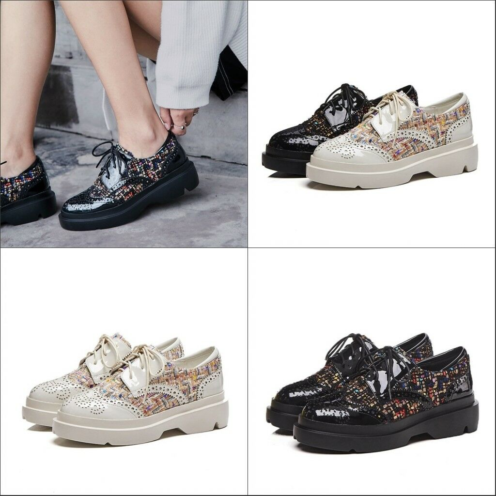 Wouomo Brogues Wingtip Patent Leather scarpe Platform Lace Up Casual Creepers