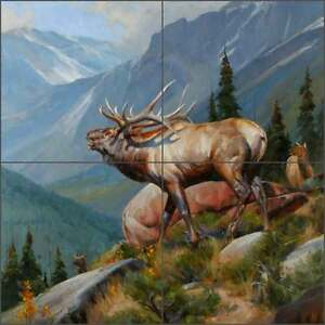 Ceramic-Tile-Mural-Backsplash-Aldrich-Elk-Wildlife-Animal-Art-RW-EA009