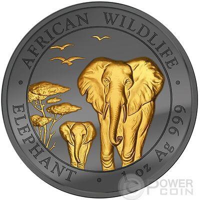 GOLDEN ENIGMA Elephant Black Ruthenium Silver Coin 100 Shillings Somalia 2015