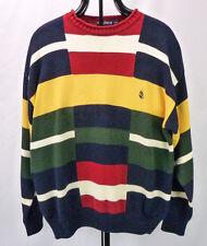 Vintage 90s NAUTICA Primary Colors 100% Cotton Colorblock Crew Sweater L