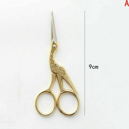 Vintage Crane Shape Gold Tailor Sewing Embroidery Stainless Steel Scissors T9A9