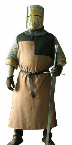 Details about  /Medieval Renaissance Tunic Brwon/&Black Knight Tabard Costume Handmade Adult