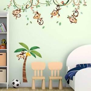Details zu Wandsticker Kinderzimmer Affen Liane Dschungel Palme Papagei  Wandtattoo Baby