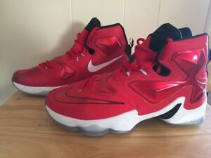 cf2b505a14cd NIKE LEBRON 13 XIII University Red White Black 807219-610 Size 11.5 ...