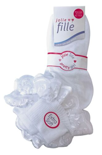1-2 Years 6 Pairs Baby Girls White Summer Cotton rich lace top Socks 3-5 Uk