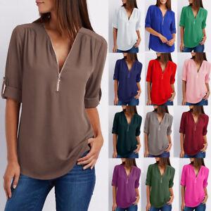 Women-Work-Blouse-Chiffon-Zipper-V-neck-Casual-Ladies-Tee-Loose-Plain-Shirt-Tops