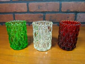 3-Vintage-Glass-Toothpick-Holders-Votive-Candle-Cup-Patent-Pending-Diamond-Rare
