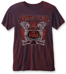 Johnny-Cash-039-Ring-of-Fire-039-Navy-Red-Burnout-T-SHIRT-Nuevo-y-Oficial