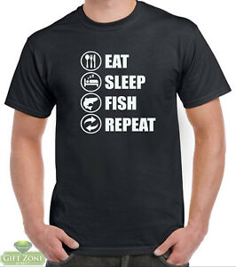 4809c68b456 Image is loading Eat-Sleep-Fish-Repeat-Funny-Fishing-T-Shirt-