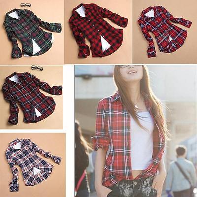 Women Casual Button Down Lapel Shirt Plaid & Checks Flannel Shirt Tops Blouse BG