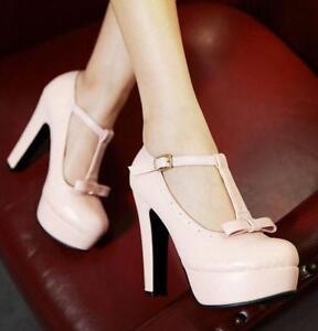 US4-11-Sweet-Lolita-Womens-Bowtie-T-strap-Block-Heels-Platform-Prom-Cute-Shoes