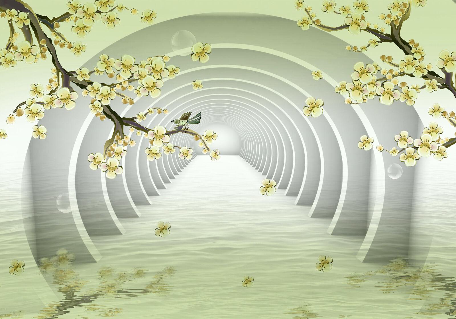 Fototapete Tunnel Äste gelb Blaumen Vogel Blase Wasser Fluss Abstrakt