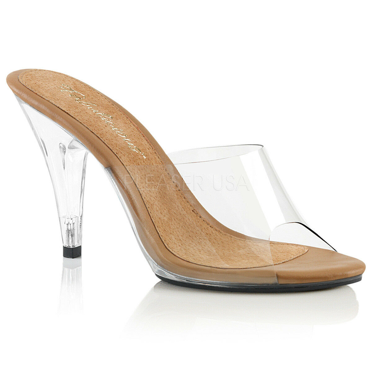 PLEASER FABULICIOUS CARESS-401 CLEAR   TAN COMPETITION POSING MULES SANDALS