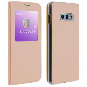SMART-View-Finestra-Flip-Case-per-Samsung-Galaxy-S10e-Slim-Cover-Oro