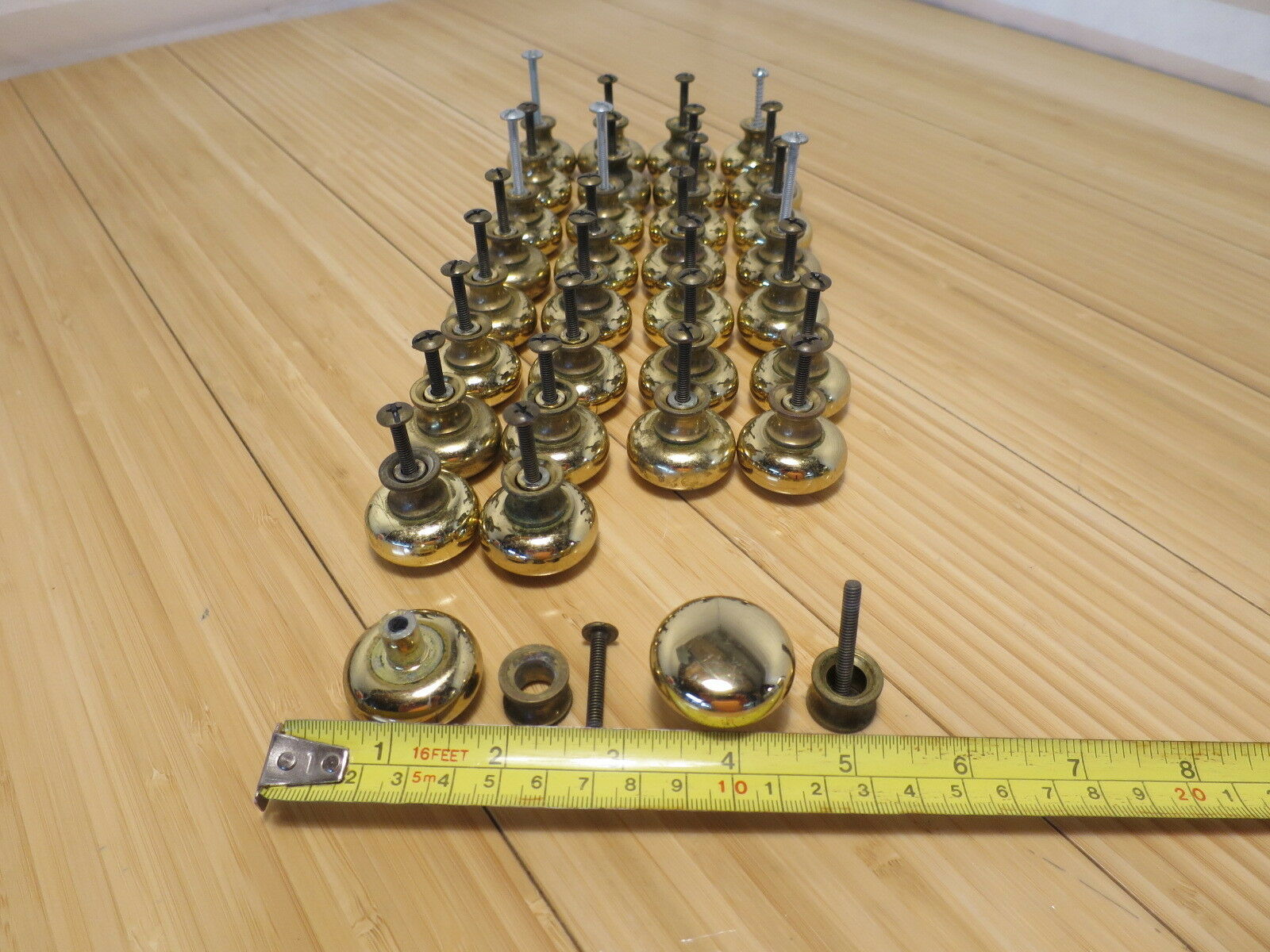 Round Brass Drawer Pull 1 1 4 Inches In Diameter With Screw