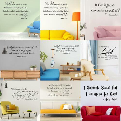 Bible Verse Wall Decal Sticker PVC Removable Quote Scripture Art Craft Decor