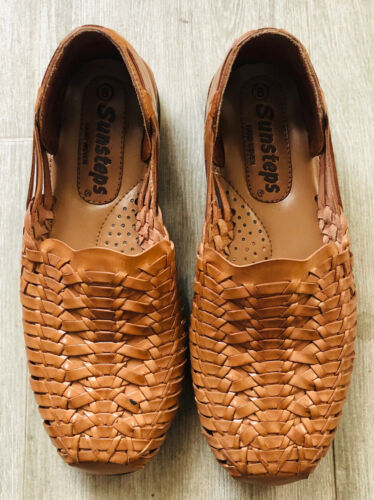 SUNSTEPS Hand Woven Huarache Brown Leather Sandals