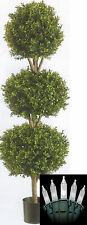 "56"" Outdoor Artificial 3 Boxwood Ball Topiary Christmas Tree Holiday Light 4' 8"""
