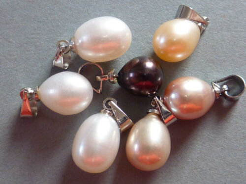 Noble perla cultivada colgante para cadena gotas perla selección elección de color 10 mm 2140