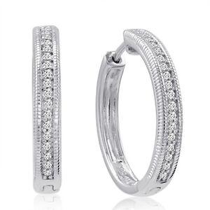 1-4ct-Natural-REAL-Diamond-Hoop-Earrings-Set-in-925-Sterling-Silver