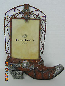 "hobby lobby photo holder in the shape of a western boot 13"" x 10"""