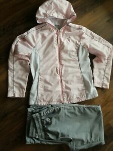 Nike Women's Windbreaker Hoodie And Pants Tracksuit Set Pink And Gray Size M