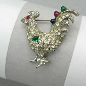 Vtg-Art-Deco-Tutti-Frutti-Fruit-Salad-Bullet-Glass-Rooster-Bird-Paste-Brooch-Pin