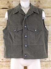Hugo Boss Mens Large 42 Red Label Olive Green Corduroy Cotton Vest Waistcoat