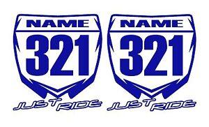 Motocross Numéro Plaque Decal Autocollant Personnalisé Nom MX KTM Orange SX
