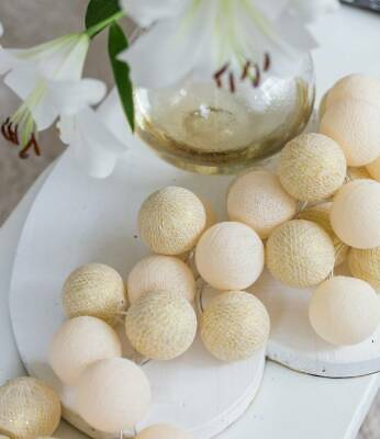 Farbe shell gold Original Cotton Ball Lights 20er Lichterkette mit Netzteil