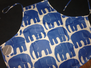 from Finland Finlayson Blue Elephant OIL CLOTH apron for KIDS NWT