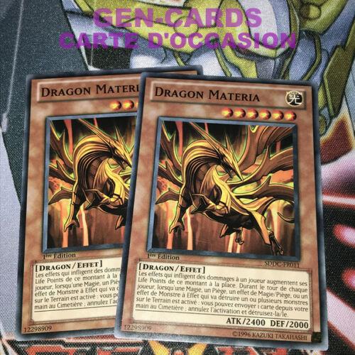 OCCASION Carte Yu Gi Oh DRAGON MATERIA SDDC-FR001 x 2 1ère édition