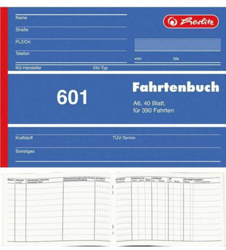 40 Blatt Nachweis mit Gesamtübersicht für st 5x Herlitz 601 Fahrtenbuch A6