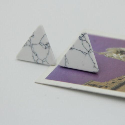 White//Black succinct geometric shape turquoise Stud Earrings EH0737