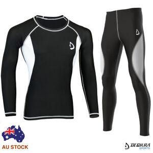 Mens-Compression-Baselayer-Trouser-Shirt-Skin-Tight-Breathable-Sports-Rash-Guard