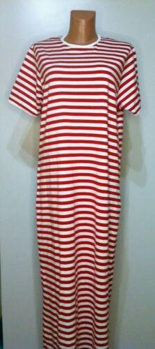 MARIMEKKO long red-white striped Dress M-L