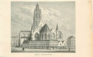 collegiale-Sainte-Walburge-a-Audenarde-Oudenaarde-GRAVURE-ANTIQUE-OLD-PRINT-1880