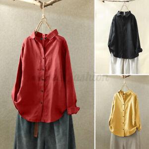ZANZEA-Femme-Chemise-Haut-Shirt-Manche-Longue-Boutons-Pur-coton-Revers-Plus