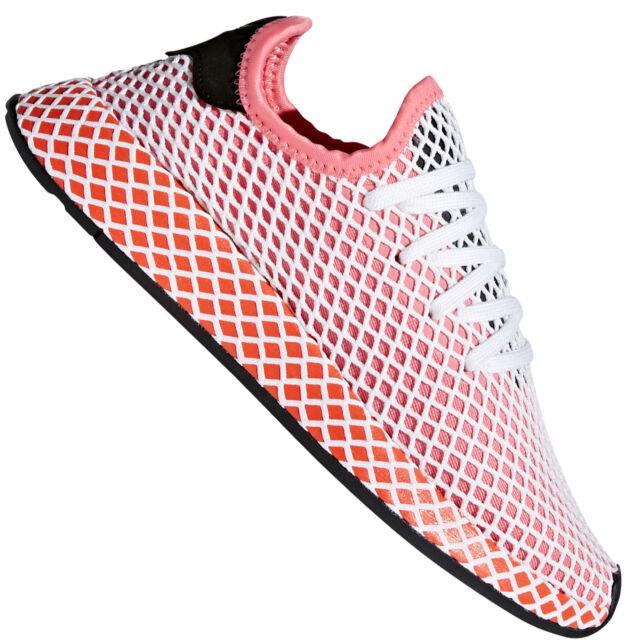 Adidas Da Originali Deerupt Rosa Bianco E Rosso Delle Scarpe Da Adidas Ginnastica 4 5 Ebay 194f15