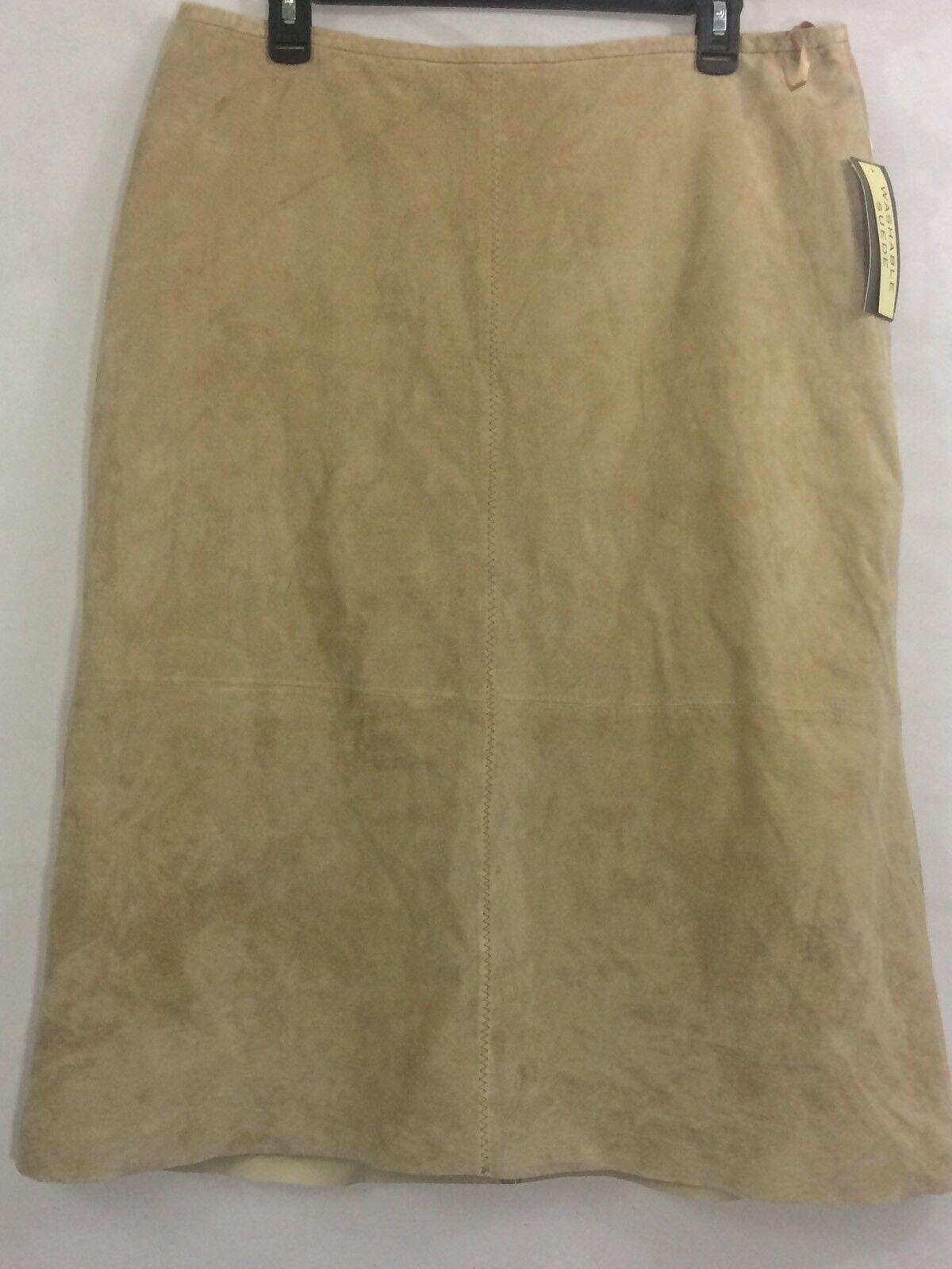 NWT Womens John Paul Richard Leather Pencil Skirt Size 16 Tan Washable Suede