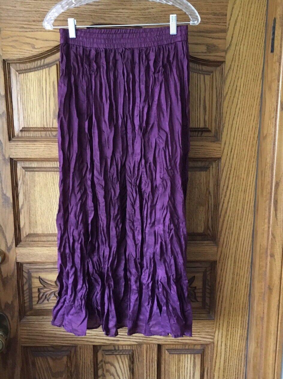 Sophisticates by Jonathan Martin Womens Crinkle Skirt Long 100% Silk Size M