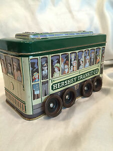 Hershey-039-s-Chocolate-Hershey-Transit-Company-Collectible-Tin-Trolley-On-Wheels