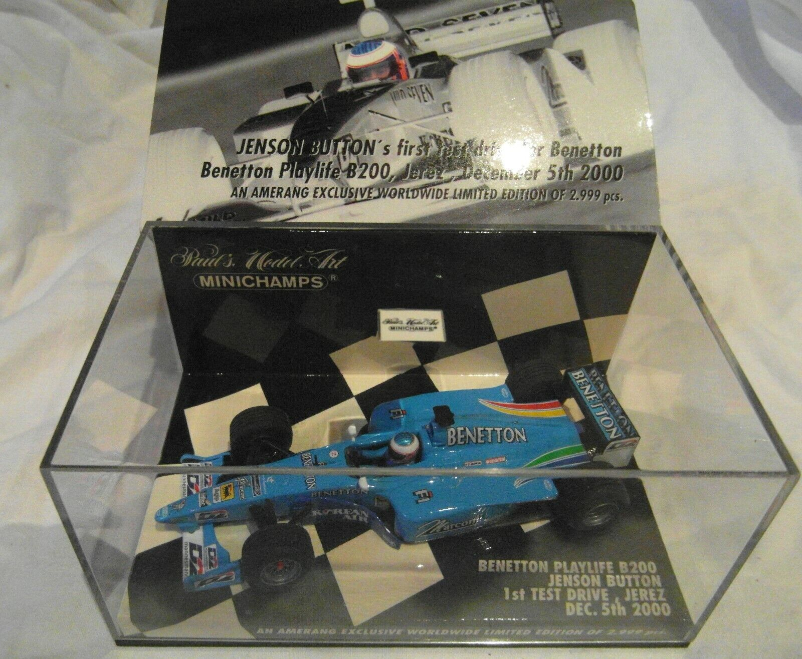 Minichamps 1 43rd 43rd 43rd Benetton Playlife B200 Jenson Button 1st test Drive Jerez 2000 2960b7