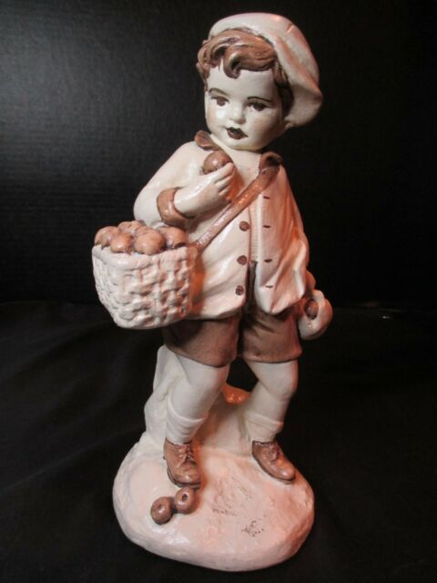 Little Girl with Doll Boy Figurine with Apple Basket and Begging Dog Vintage Children Figurines for Summer Mantel Decor Cute Collectibles