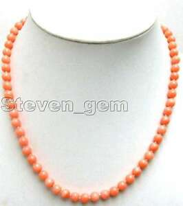 6-7mm-Round-Pink-Natural-Coral-Necklace-for-Women-Chokers-17-039-039-Jewelry-nec4107