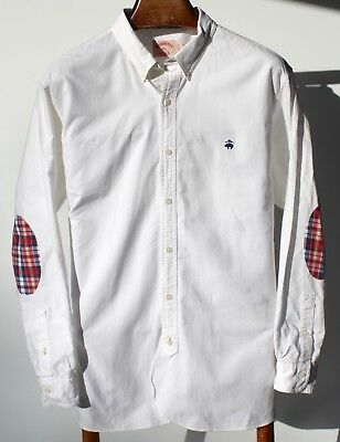 Brooks Brothers XL Gentleman's White Cotton Shirt -- Madras Check Elbow Patches-